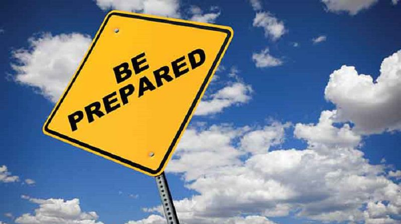 Be Prepared sign with cloudy sky background